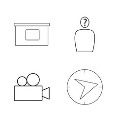 office simple linear outline icon set vector image