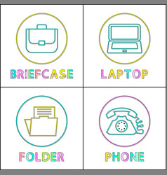 office worker necessities line art icon collection vector image