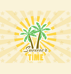 Palm trees sticker with rays summer time vector