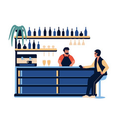 people in bar cafe barista barman making vector image
