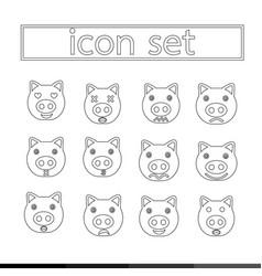pig emotion icon set design vector image