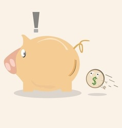 piggy bank icon with coin vector image