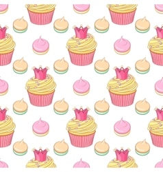 Pink crown cupcakes and meringues seamless vector image