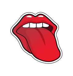 pop art speaking red lips half-open mouth licking vector image