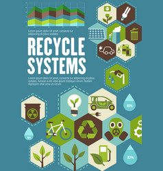 Recycle poster with ecology and green energy icon vector