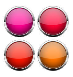 Red glass buttons shiny round 3d web icons vector