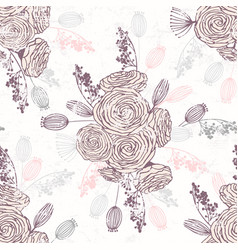 Romantic hand drawn seamless pattern with flowers vector