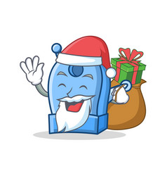 Santa with gift pencil sharpener character cartoon vector