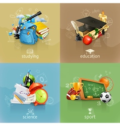 School concepts set vector image