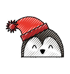 scribble christmas penguin face cartoon vector image