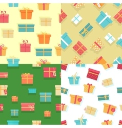 Seamless pattern gift boxes with ribbons and bows vector