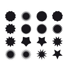 set black starburst badges blank offer sale vector image