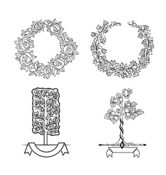 Set floristic ornaments vector