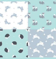 Set forest animals seamless patterns vector