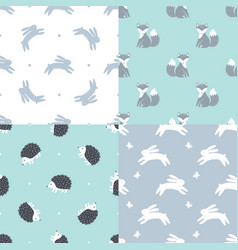 Set of forest animals seamless patterns vector