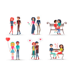 set of smiling couples in love on white background vector image