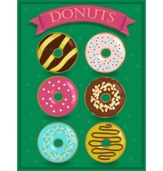Set of sweet colorful donuts vector image