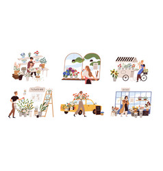 Set people work at florist shop or store woman vector