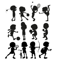 Silhouette kids playing different sports vector
