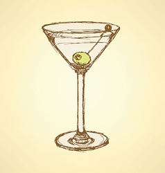 Sketch martini glass with olive vector image