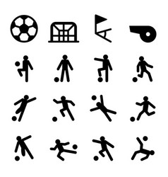 soccer football training icon set vector image