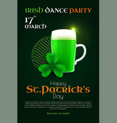 st patrick s day poster template with shamrock vector image
