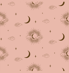 sun clouds and moon decorative boho style element vector image