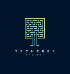 tech tree logo design vector image