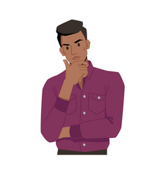 Thoughtful thinking afro american man hand on chin vector
