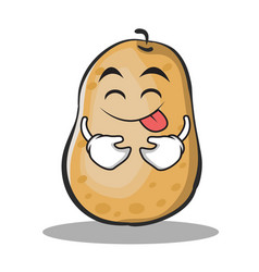 Tongue out potato character cartoon style vector