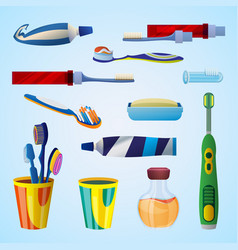 tooth cleaning tool concept background cartoon vector image