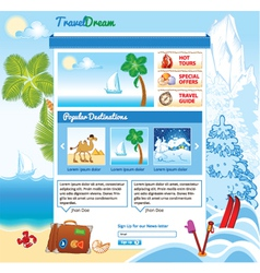 Tourism template for web site vector image