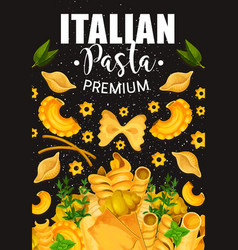 Traditional italian pasta and seasonings vector