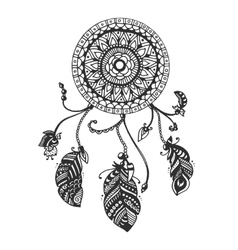 Tribal dream catcher with feathers vector