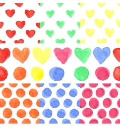 watercolor colored heartpolka dotbaseamless vector image