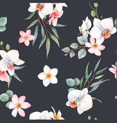 watercolor orchid white flowers pattern vector image