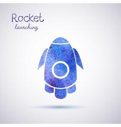 watercolor rocket icon vector image