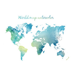 watercolor world map in on wight background vector image