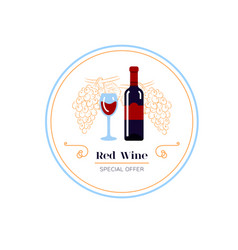 White wine and grape line icon wine menu logo vector
