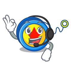 With headphone yoyo mascot cartoon style vector