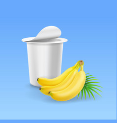 Yogurt package box and banana realistic vector