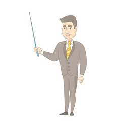 Young caucasian businessman with a pointer vector