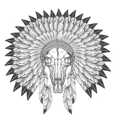 Buffalo skull sketch with feather headdress vector image