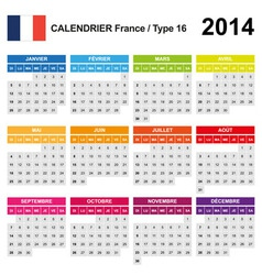 Calendar 2014 France Type 16 vector image vector image