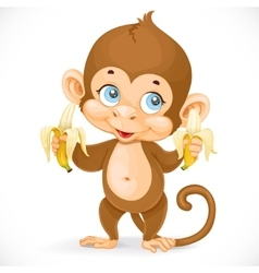 Cute baby monkey with two bananas stand on a white vector