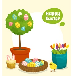 Easter poster with tree nest eggs chick flower vector image