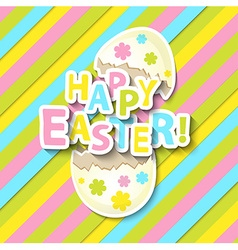 Happy Easter Greeting Card with Cartoon Egg vector image vector image