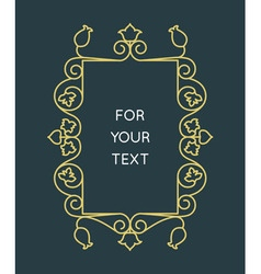 Linear monogram - frame for text vector image