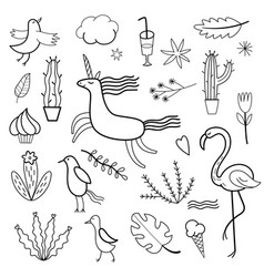 set of doodles images vector image