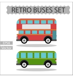 Set of retro city buses on a white background vector image vector image